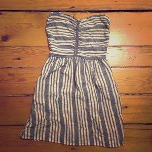 Gap 100% cotton striped strapless dress buttons 6